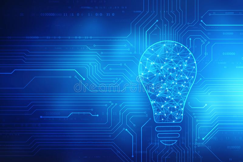 Bulb future technology, innovation background, creative idea concept, concept of thinking royalty free stock images
