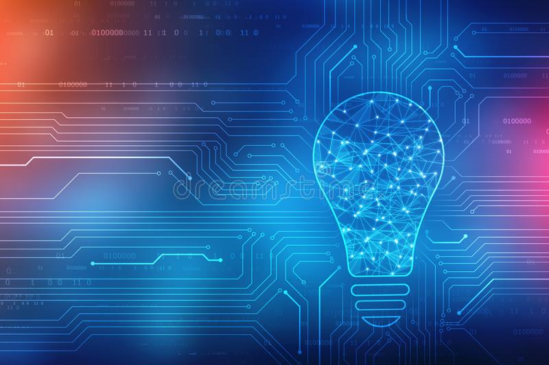 Bulb future technology, innovation background, creative idea concept, concept of thinking stock illustration