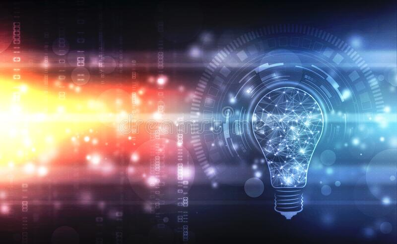 Bulb future technology, innovation background, Artificial Intelligence Concept background stock image