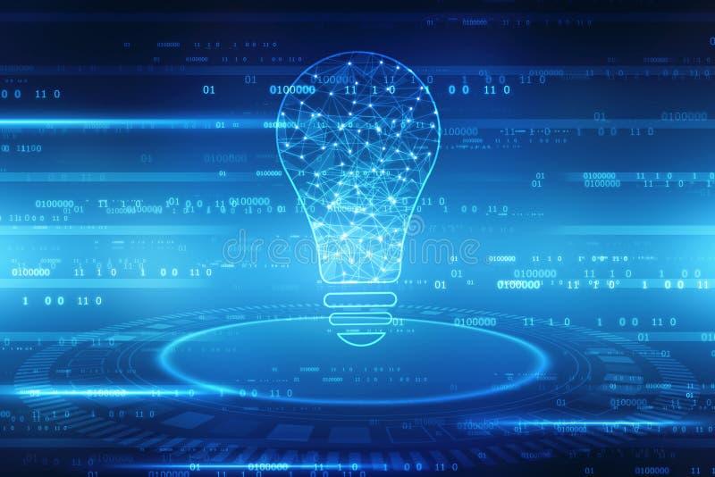 Artificial Intelligence background, Bulb future technology, innovation background, royalty free illustration