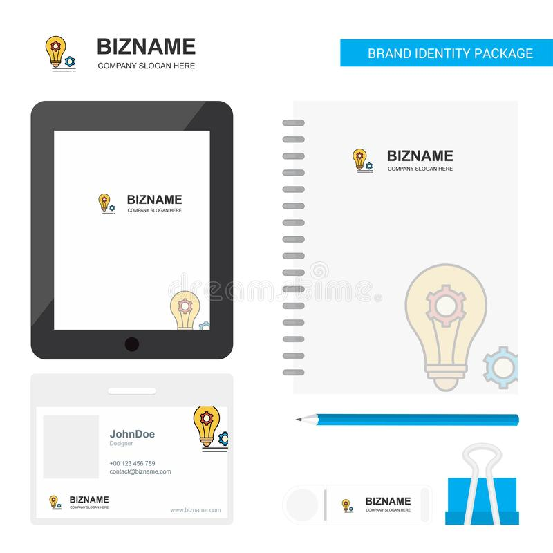 Bulb with gear Business Logo, Tab App, Diary PVC Employee Card and USB Brand Stationary Package Design Vector Template royalty free illustration