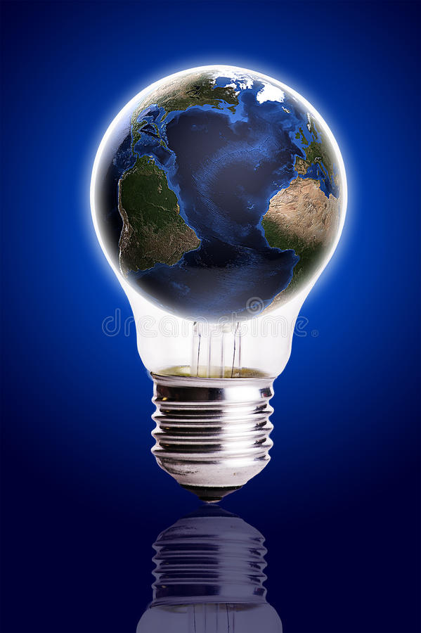 Bulb with globe blue black gradient background,Earth Map and Globe shape courtesy of NASA. Image of Bulb with globe blue black gradient background,Earth Map and stock photos