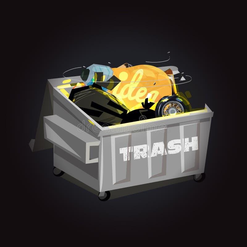bulb grow from trash. idea or creativity concept - vector illustration vector illustration
