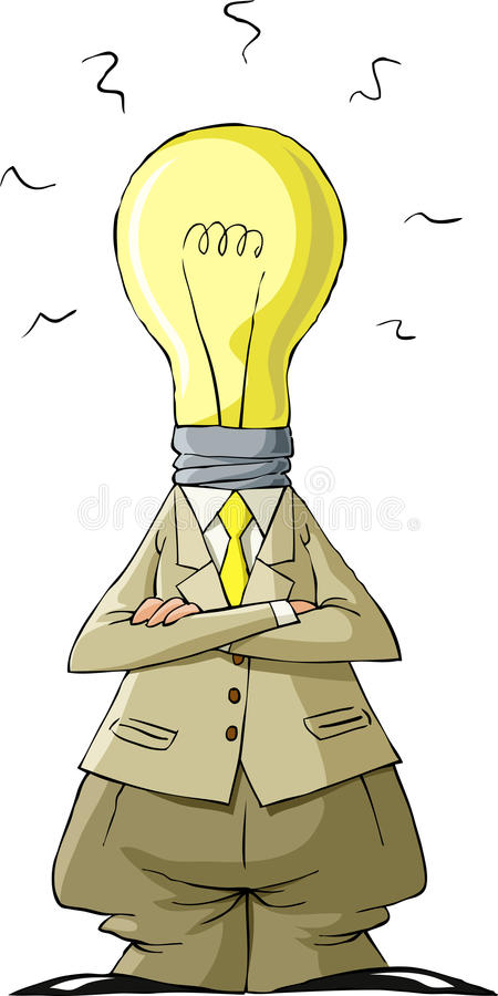 Download Bulb head stock vector. Image of cute, businessman, drawing - 21505368