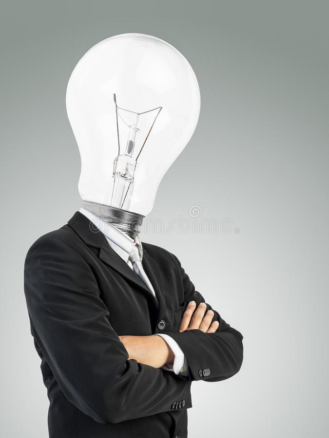 Bulb head man. Cross one's arm royalty free stock images