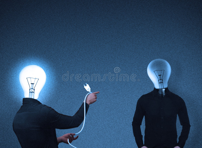 Bulb-head people interaction stock photo