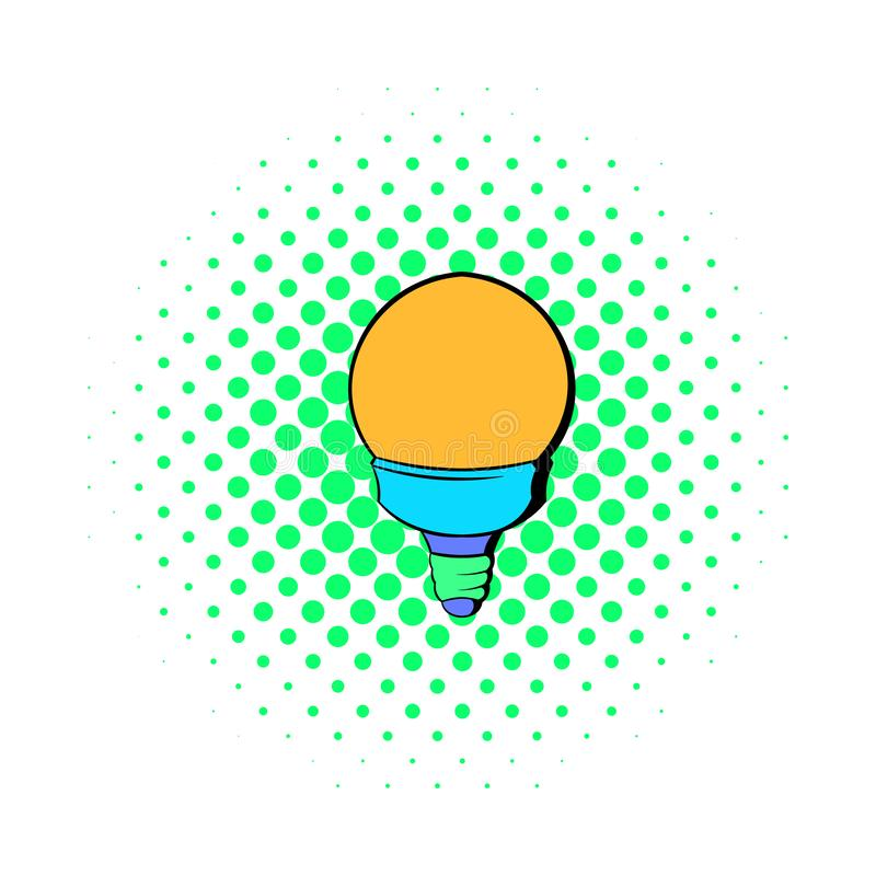 Bulb icon in comics style. On a white background royalty free illustration