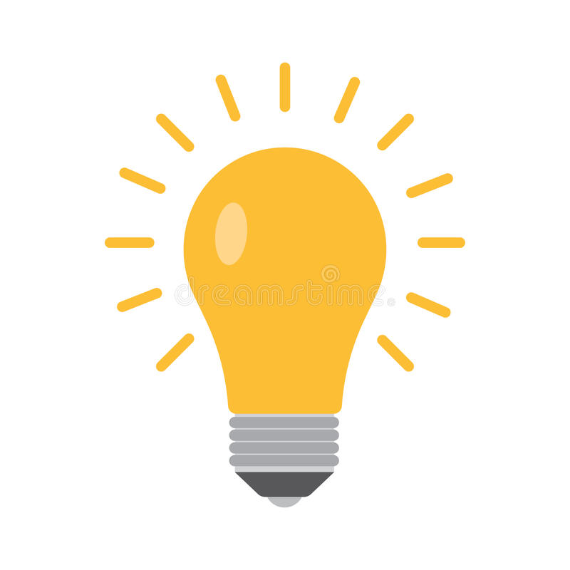 Bulb icon in a flat style. Vector illustration on a white background stock illustration