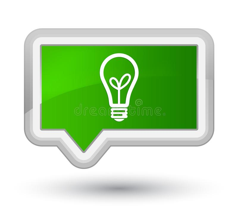 Bulb icon prime green banner button. Bulb icon isolated on prime green banner button abstract illustration royalty free illustration
