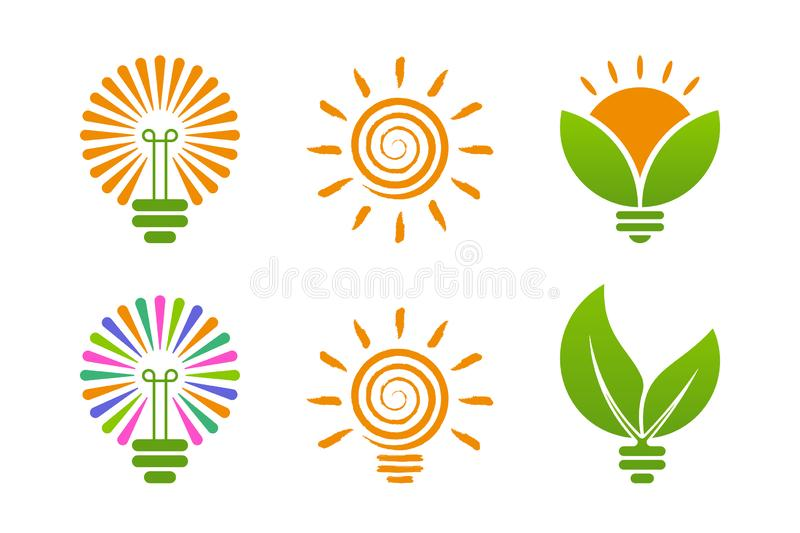 Bulb icons with green energy themes vector illustration