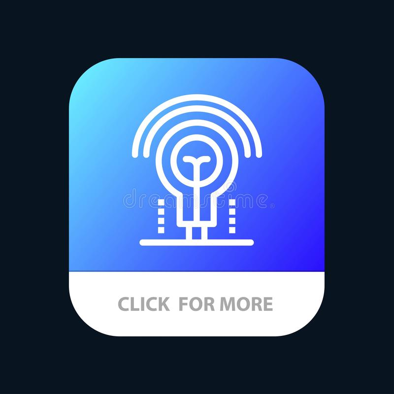 Bulb, Idea, Light, Hotel Mobile App Button. Android and IOS Line Version royalty free illustration