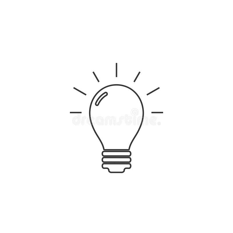Bulb, idee, lichtpictogram Vectorillustratie, vlak ontwerp stock illustratie
