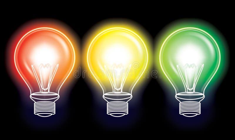 Bulb illustration. Traffic light colour bulb concept illustration royalty free illustration