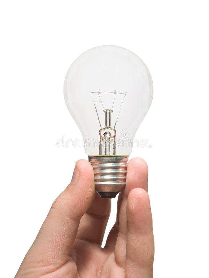 Bulb (lamp) in hand royalty free stock photos