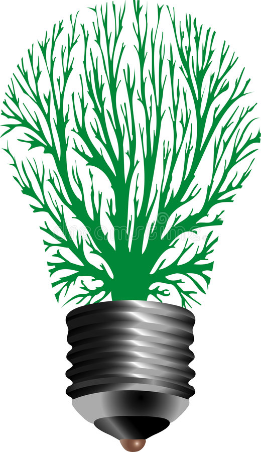 Bulb lamp tree. Vector symbolic illustration for ecological energy with bulb lamp and tree royalty free illustration