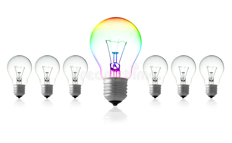 Bulb leadership concept stock image