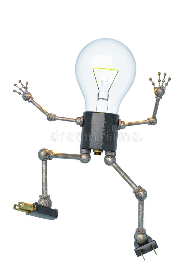 Bulb light character falling in a white bacground stock illustration