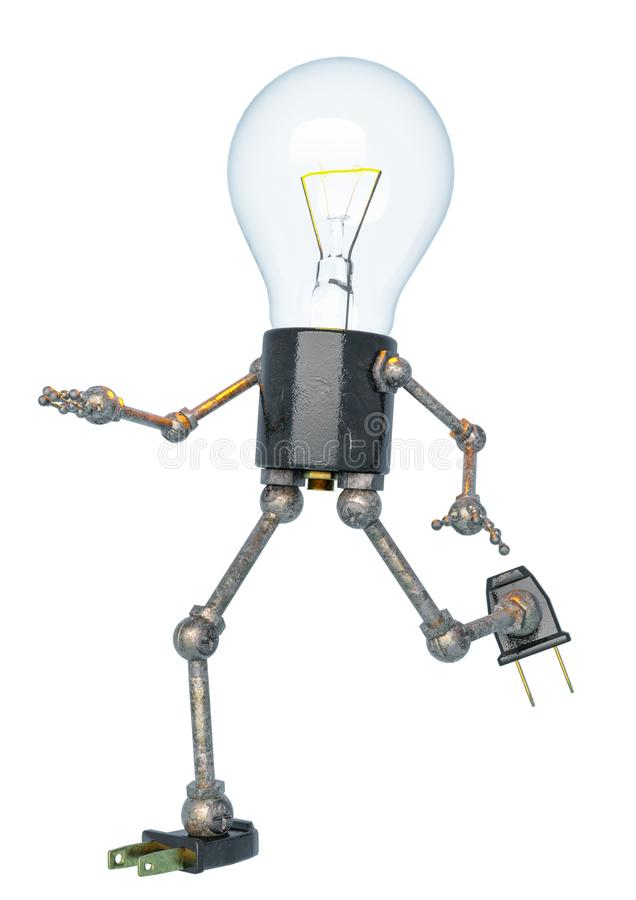 Bulb light character running in a white bacground. This robot in clipping path is very useful for graphic design creations, 3d illustration vector illustration