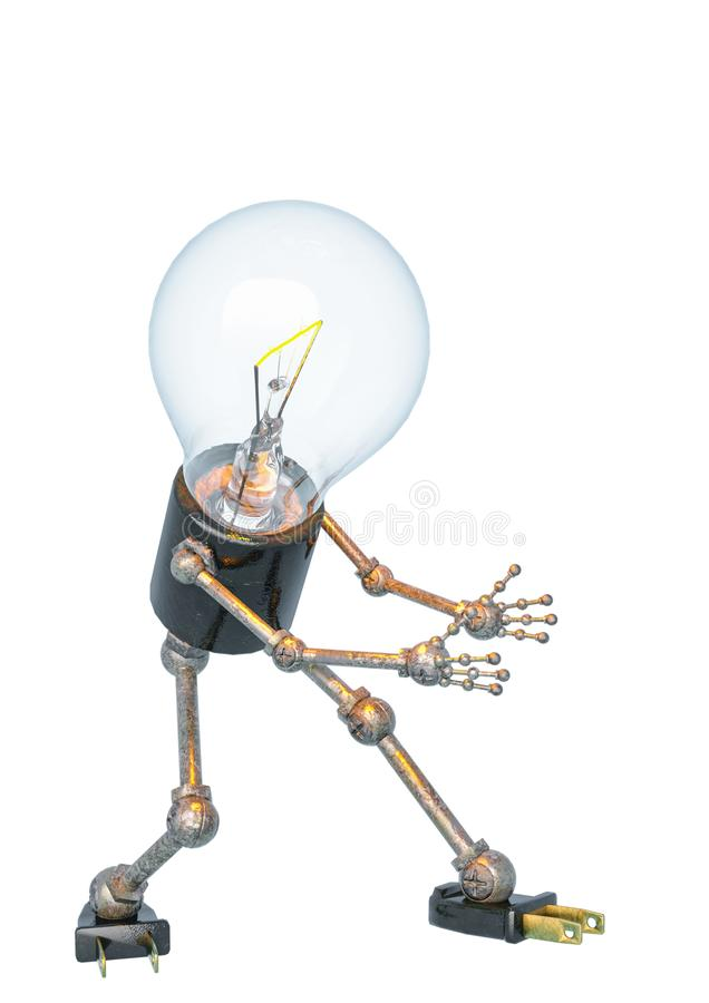 Bulb light character showing up in a white bacground. This robot in clipping path is very useful for graphic design creations, 3d illustration stock illustration
