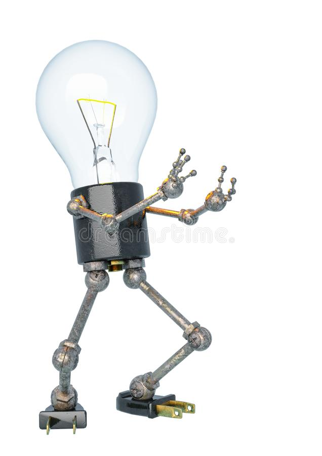 Bulb light character in a white bacground. This robot in clipping path is very useful for graphic design creations, 3d illustration royalty free illustration