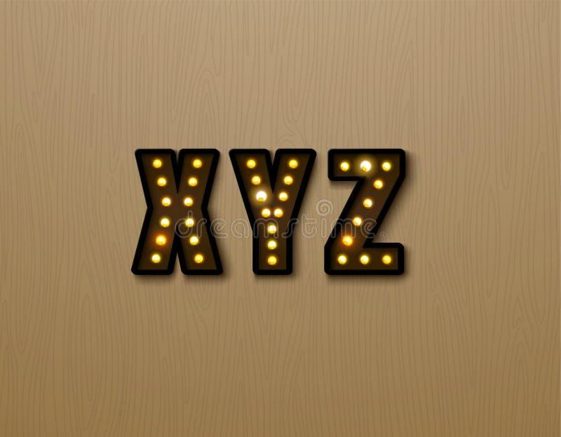 Bulb light font on wood pattern. Vector illustration vector illustration
