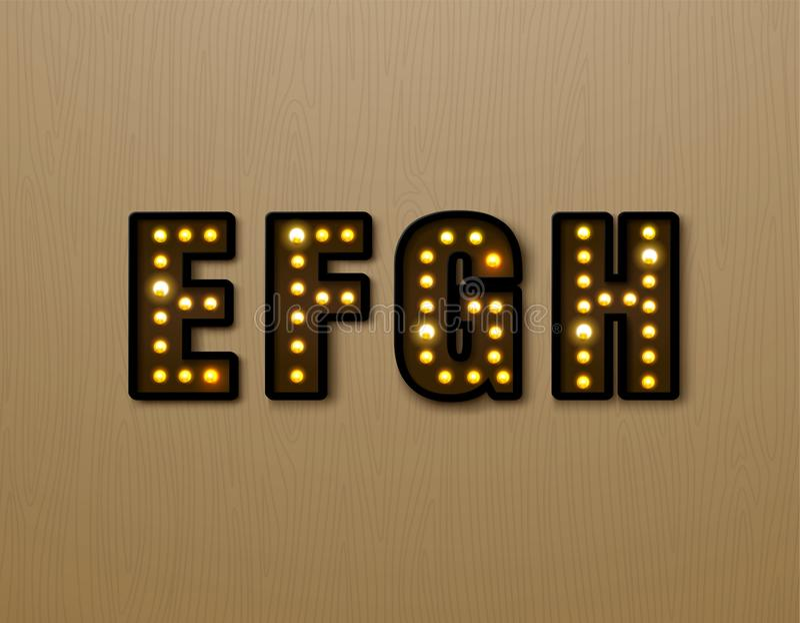 Bulb light font on wood pattern. Vector illustration royalty free illustration