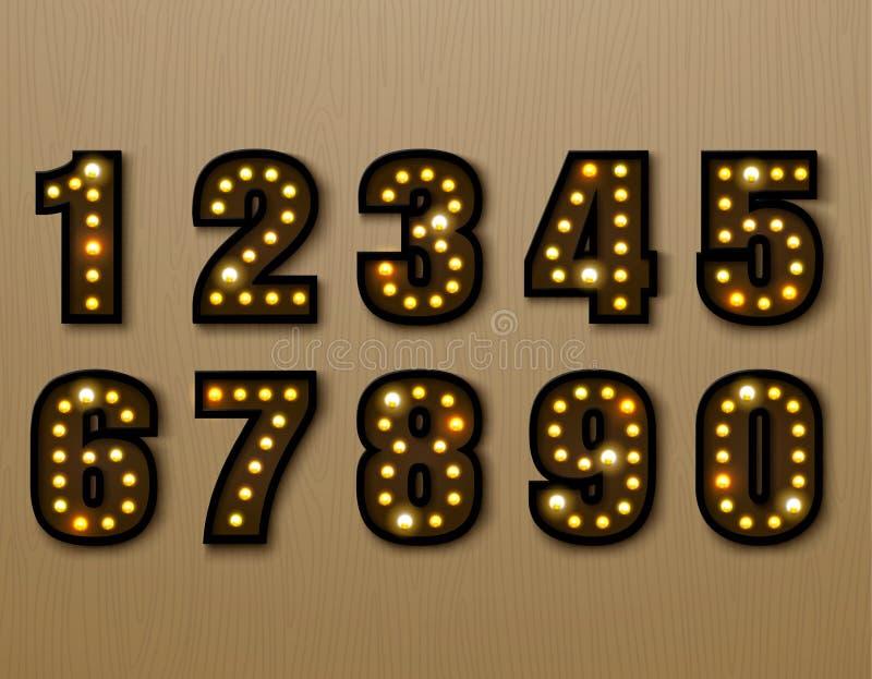 Bulb light font on wood pattern. Vector illustration stock illustration