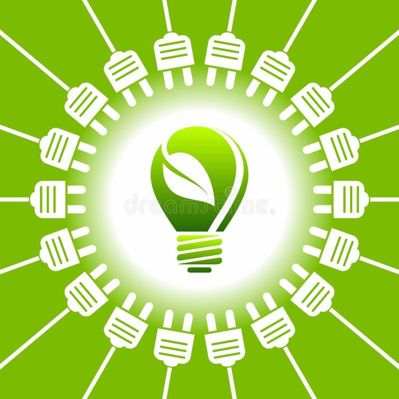 Bulb light - green energy - ecology concept.  vector illustration