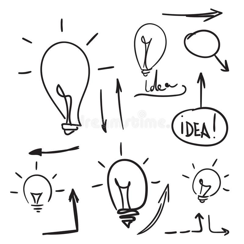 Bulb light idea. Concept of big ideas inspiration innovation, invention, effective thinking. Vector doodle lightbulb. Sketch hand drawn style royalty free illustration