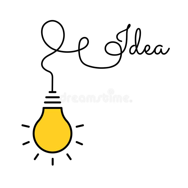 Bulb light idea. concept of big ideas inspiration innovation, invention, effective thinking. Starting the thinking process. Bulb light idea. concept of big vector illustration