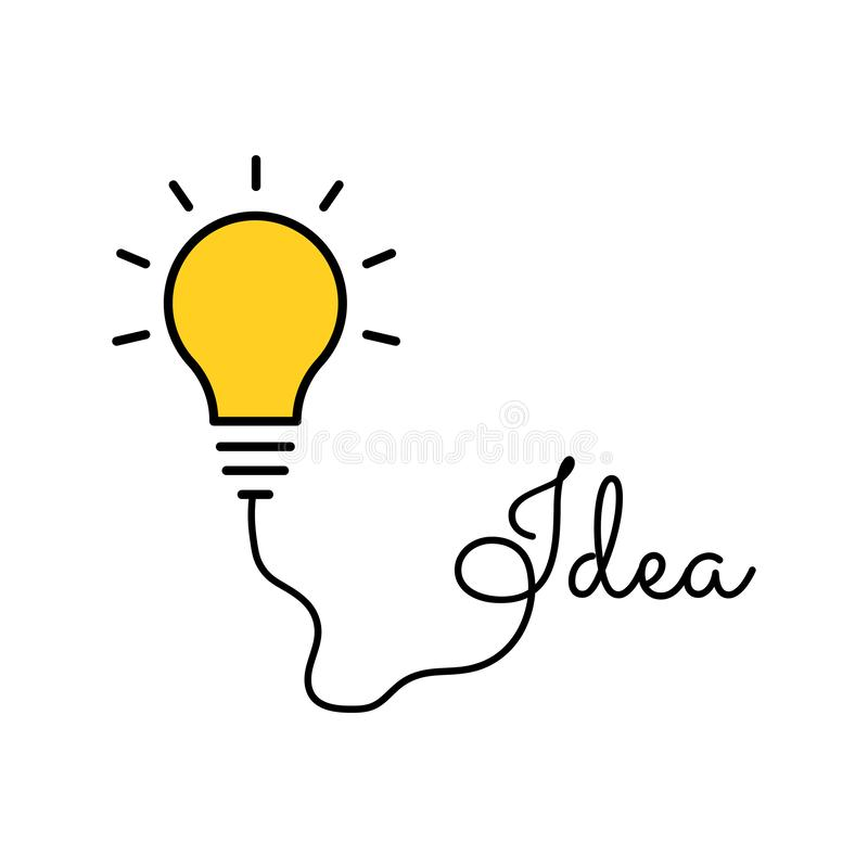 Bulb light idea. concept of big ideas inspiration innovation, invention, effective thinking. Starting the thinking process. Bulb light idea. concept of big stock illustration