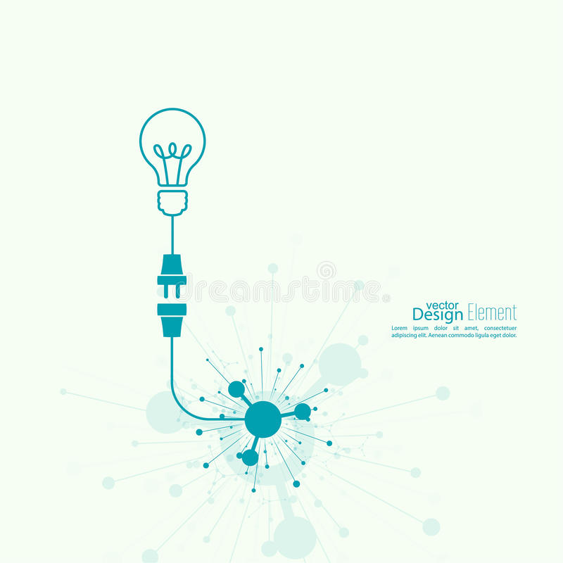 Bulb light idea. Concept of big ideas inspiration innovation, invention, effective thinking. Starting the thinking process stock illustration
