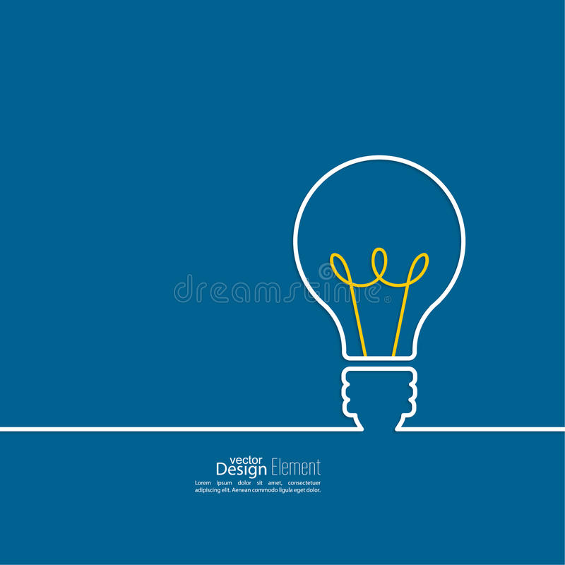 Bulb light idea. Concept of big ideas inspiration innovation, invention, effective thinking. text royalty free illustration