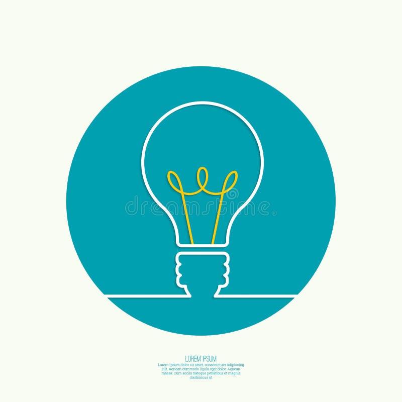 Bulb light idea. Concept of big ideas inspiration innovation, invention, effective thinking. text stock illustration