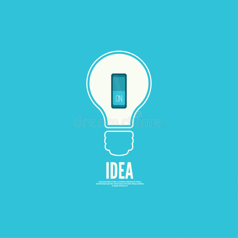 Bulb light idea with switch. Concept of big ideas inspiration innovation, invention, effective thinking. inclusion of thinking royalty free illustration