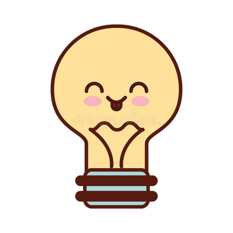 Bulb light kawaii flat icon. Vector illustration design vector illustration