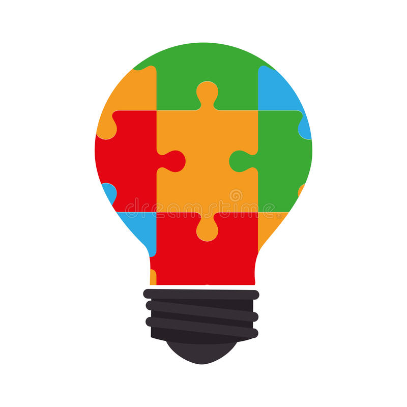 Bulb light with puzzle pieces education icon. Vector illustration design royalty free illustration