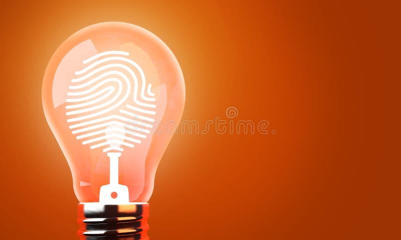 Bulb lights, Copyright Identification of creative idea. Concept background, 3d render royalty free illustration