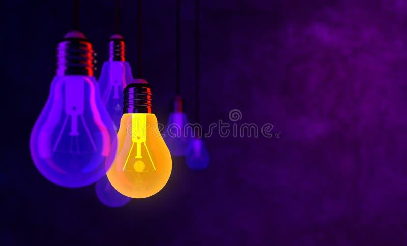 Bulb lights, creative idea and leadership concept background stock photo