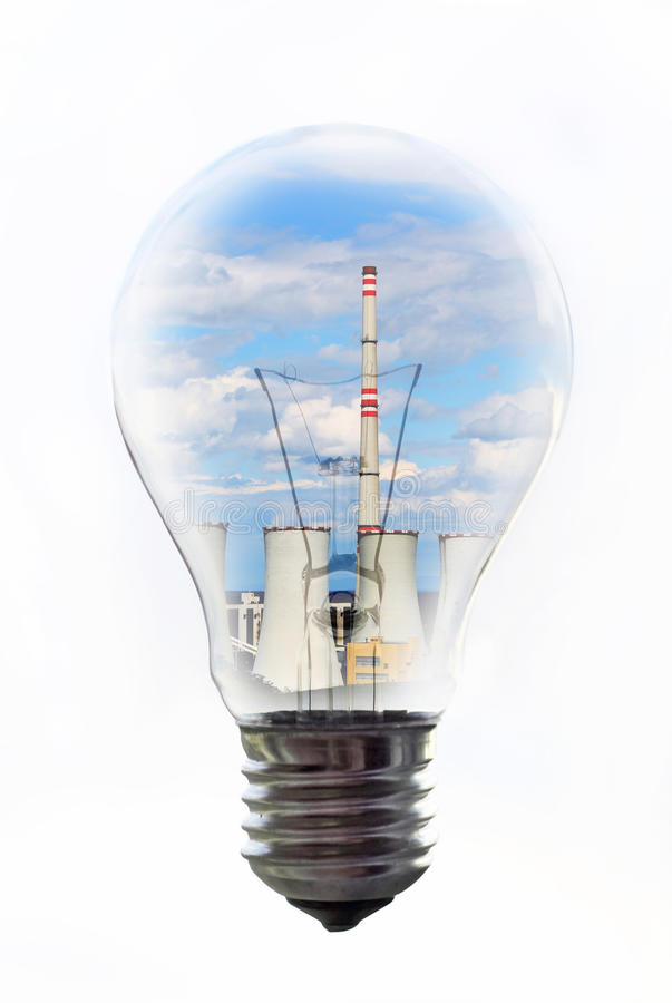 Bulb with power plant inside. Common bulb with the power plant inside stock photos