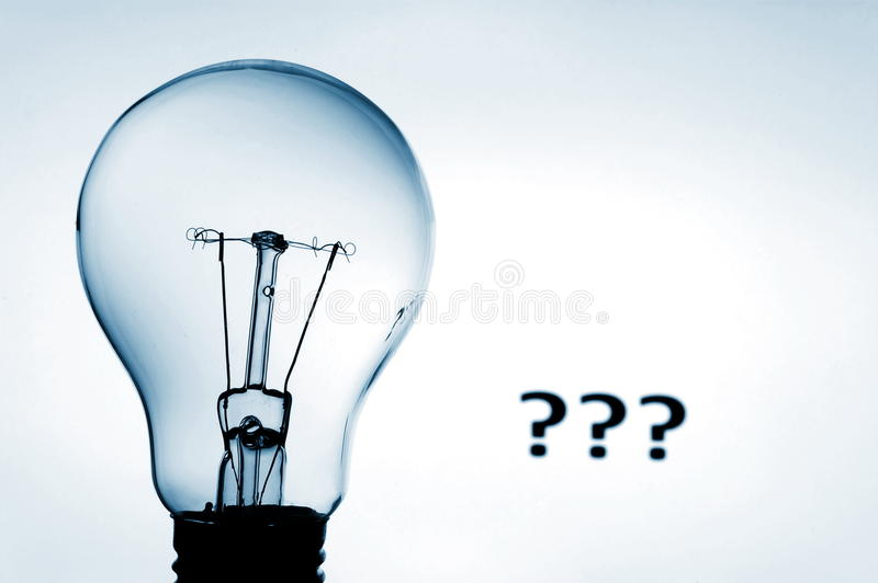 Bulb and question mark. Showing concept of solving a problem stock images
