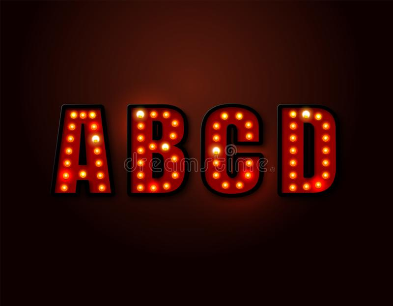 Bulb red light font on background. Vector illustration stock illustration