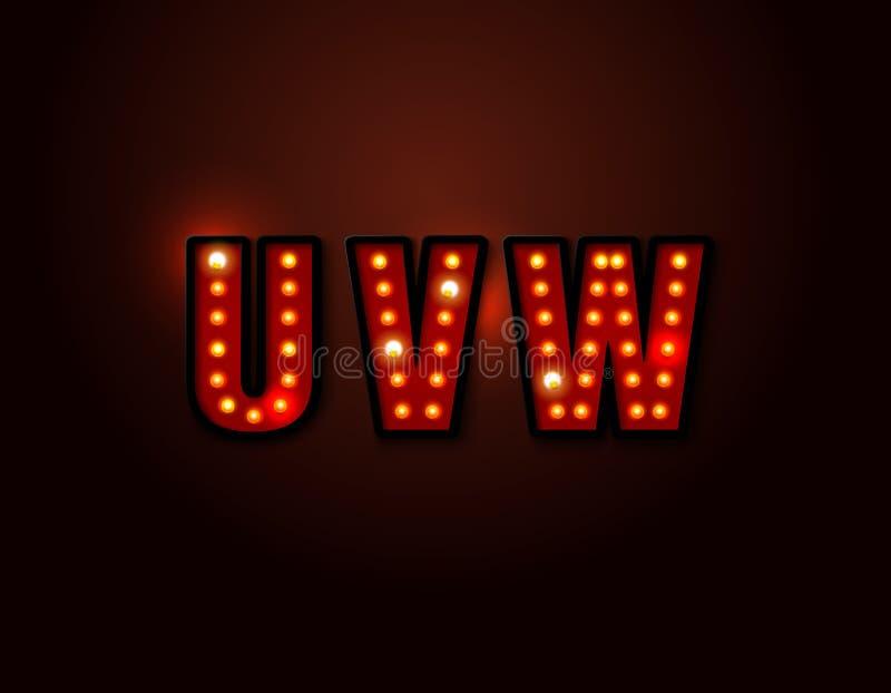 Bulb red light font on background. Vector illustration royalty free illustration
