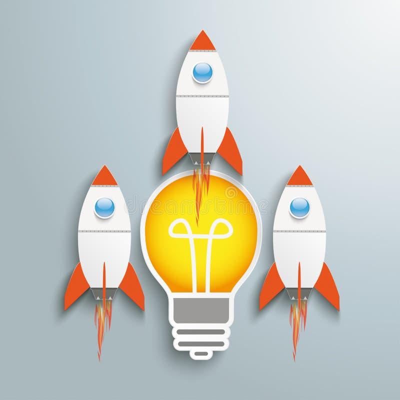 Bulb 3 Rockets stock illustration