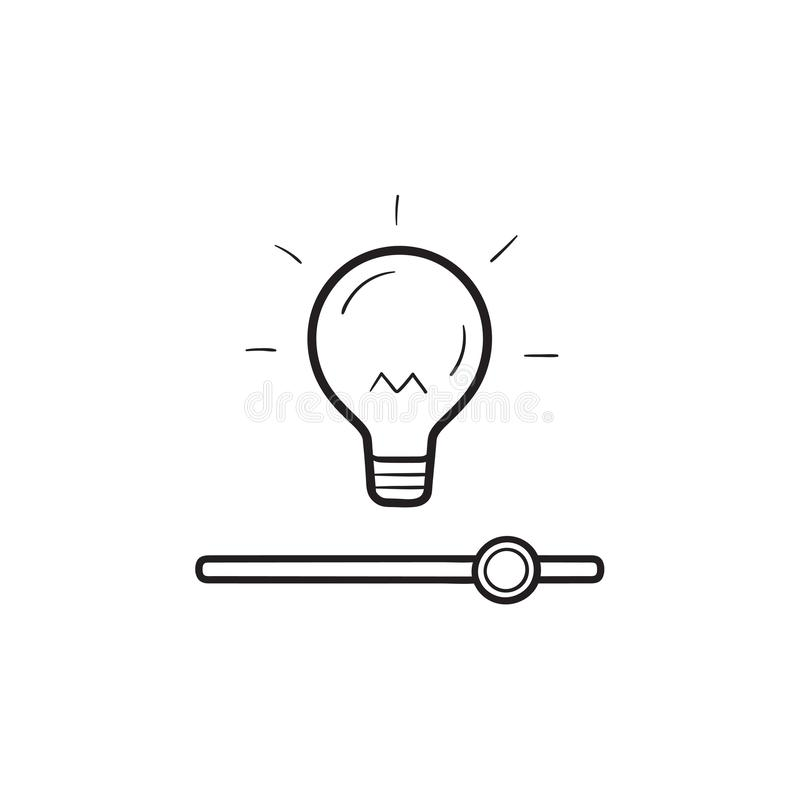 Bulb with slider switch hand drawn outline doodle icon. Bulb with slider switch, brightness settings hand drawn outline doodle icon. Lamp settings, smart home royalty free illustration