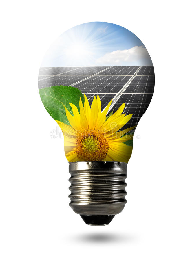 Bulb With Of Solar Panel Stock Photography
