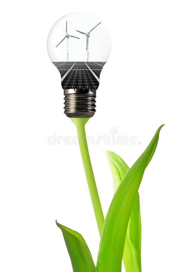 Download Bulb With Of Solar Panel And Wind Stock Photo - Image: 25753654