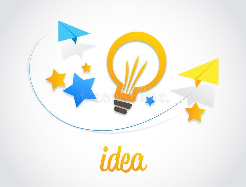 Bulb Stars And Paper Plane Vector Design Idea