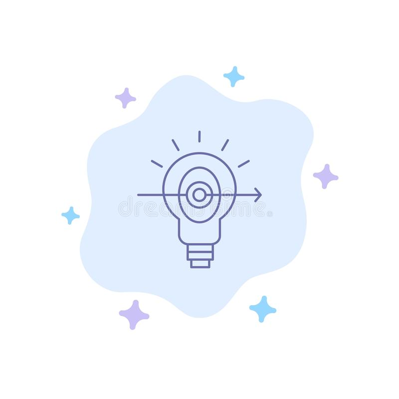 Bulb, Success, Focus, Business Blue Icon on Abstract Cloud Background royalty free illustration