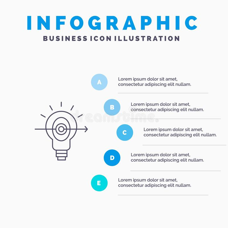 Bulb, Success, Focus, Business Line icon with 5 steps presentation infographics Background royalty free illustration